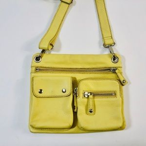 Fossil Sutton Yellow Leather Adjustable Crossbody